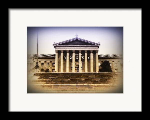 Rocky Balboa Framed Print featuring the photograph Rocky On The Art Museum Steps by Bill Cannon
