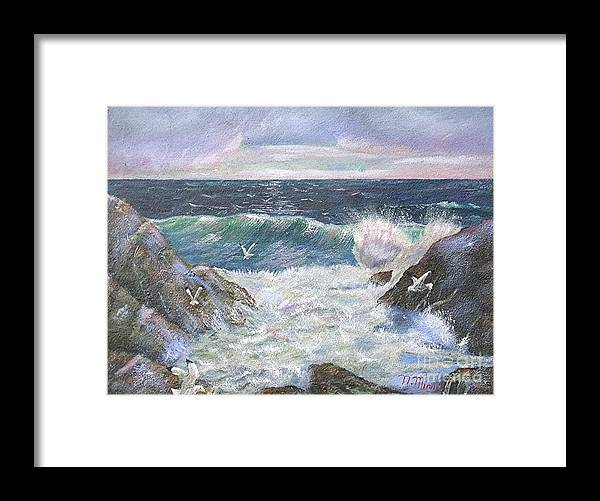 Original Oil Painting Seascape Rocky Shore.  Framed Print featuring the painting Rocky Shore by Nicholas Minniti
