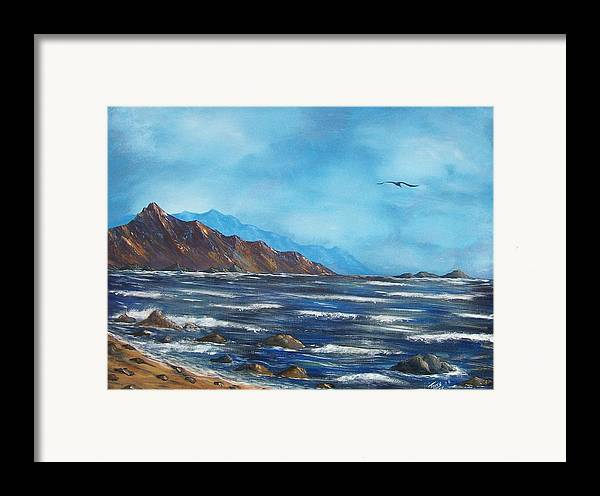 Seascape Framed Print featuring the painting Rocky Shores by Tony Rodriguez