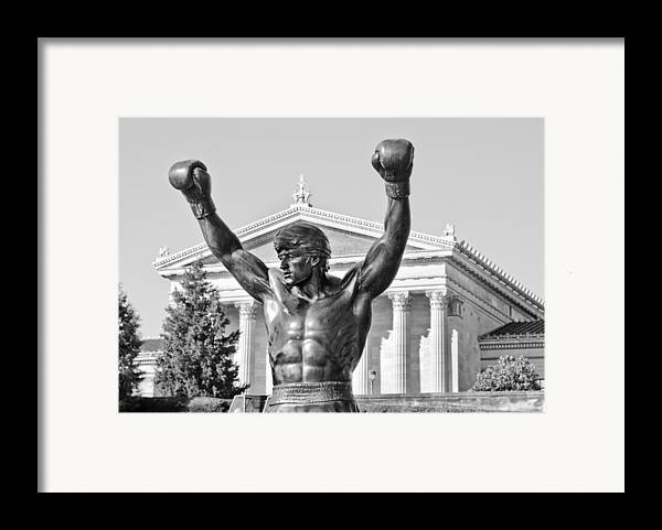 rocky Statue Framed Print featuring the photograph Rocky Statue - Philadelphia by Brendan Reals