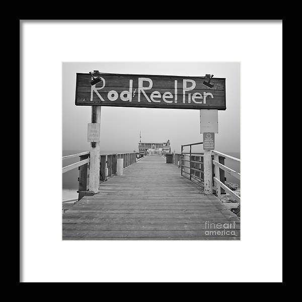 Rod And Reel Pier Framed Print featuring the photograph Rod And Reel Pier In Fog In Infrared 53 by Rolf Bertram