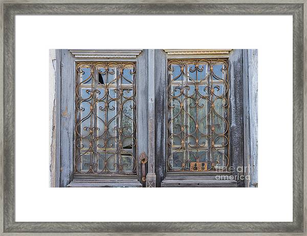 wrought iron window guards ornamental iron zeytinli framed print featuring the photograph wrought iron window guards by bob phillips