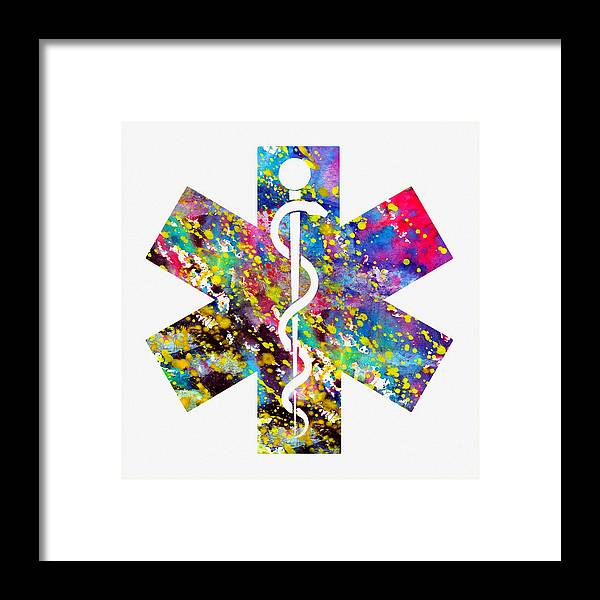 Rod Of Asclepius-colorful Framed Print by Erzebet S