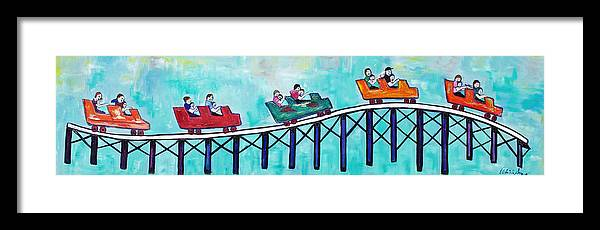 Memorabilia Framed Print featuring the painting Roller Fun by Patricia Arroyo