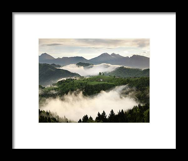 Sunrise Framed Print featuring the photograph Rolling Fog At Sunrise With Mountains Of Kamnik Savinja Alps At by Reimar Gaertner