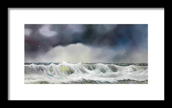 Seascape Framed Print featuring the painting Rolling Sea by Don Griffiths