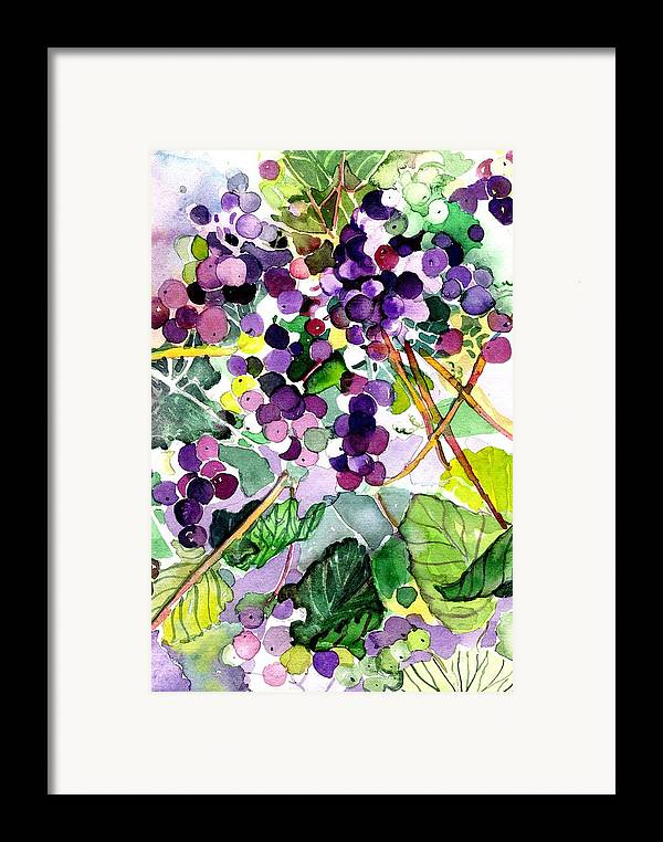 Wine Framed Print featuring the painting Roman Grapes by Mindy Newman