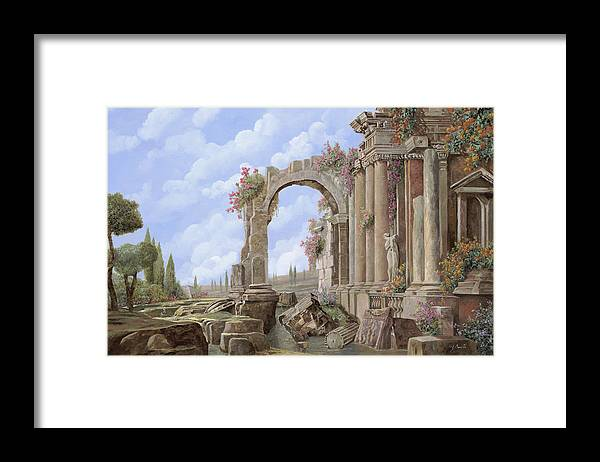 Arch Framed Print featuring the painting Roman Ruins by Guido Borelli