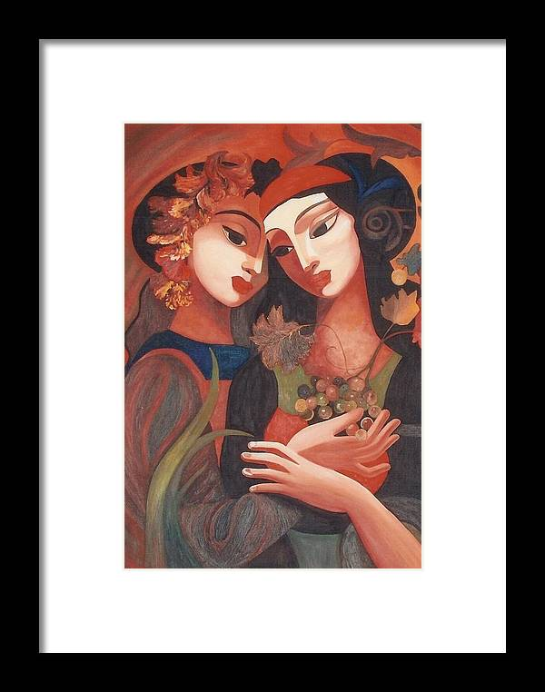 Figurative Framed Print featuring the painting Romance by Dorota Nowak