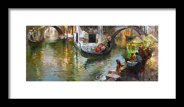 Venice Framed Print featuring the painting Romance in Venice 2 by Ylli Haruni