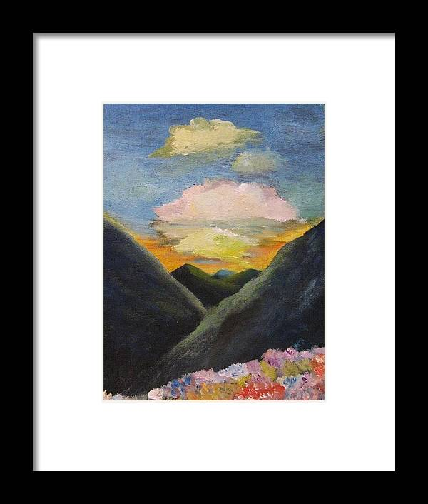Flowers Framed Print featuring the painting Romance Of The Land And The Skies by Trilby Cole
