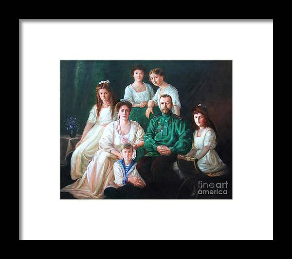 Romanov Family Framed Print featuring the painting Romanov Family Portrait by George Alexander