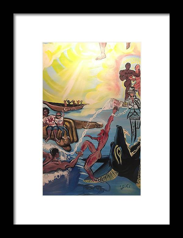 Scripture Framed Print featuring the painting Romans 11 by Sean Ivy aka Afro Art Ivy
