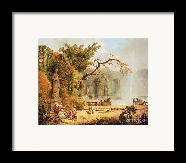 Romantic Framed Print featuring the painting Romantic Garden Scene by Hubert Robert