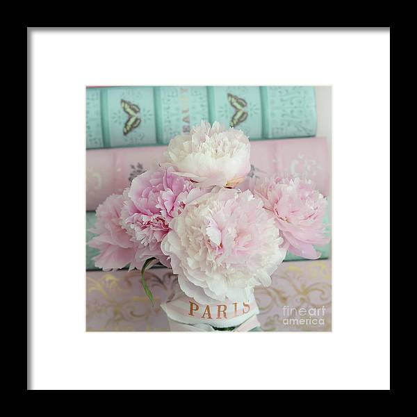 Peony Prints Framed Print featuring the photograph Paris Peonies Floral Books Art - Pink And Aqua Peonies Books Decor - Shabby Chic Peonies by Kathy Fornal