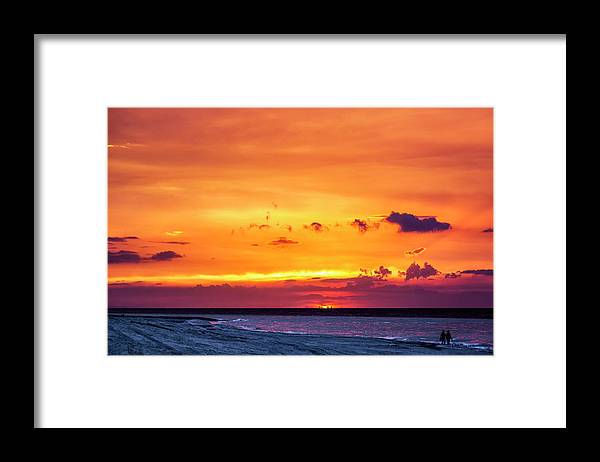 Romantic Sunset At The Cuban Beach; Cuban; Cuba; Sunset; Beach; Couple; Beach; Sand; Sea; Seaside; Shore; Clouds; Sun; Romance; Romantic; Colourful; Hope; Faith; Love; Happiness; Photography & Digital Art; Photography; Photo; Photo Art; Art; Digital Art; 2bhappy4ever; 2bhappy4ever.com; 2bhappy4evercom; Tobehappyforever; Framed Print featuring the photograph Romantic Sunset at the Cuban Beach by Erron