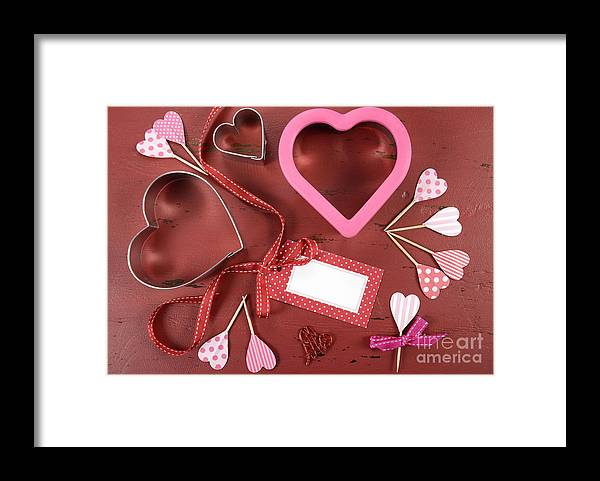 Valentine Framed Print featuring the photograph Romantic Theme Cookie Cutters by Milleflore Images