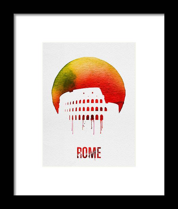 Rome Framed Print featuring the painting Rome Landmark Red by Naxart Studio
