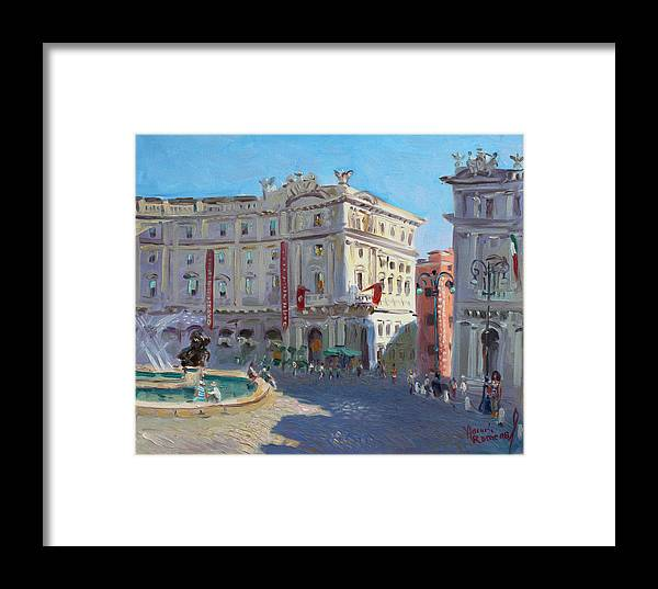 Rome Framed Print featuring the painting Rome Piazza Republica by Ylli Haruni