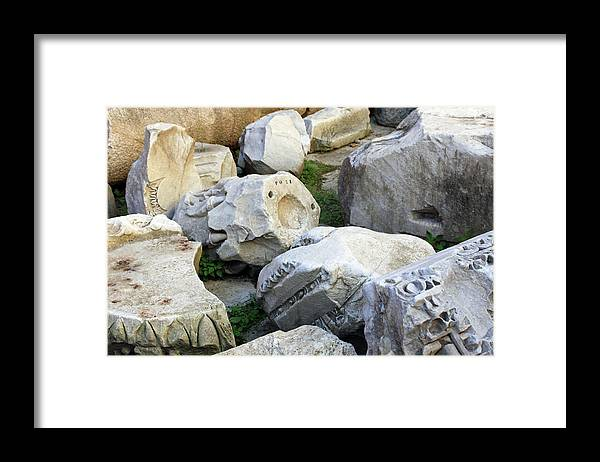 Stone Framed Print featuring the photograph Rome Ruins Stones by Munir Alawi