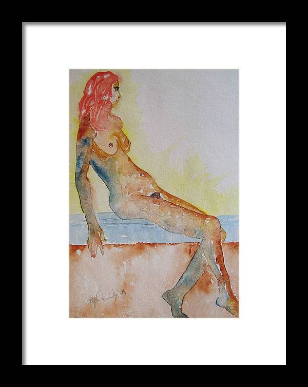 Nude Watercolor Painting Framed Print featuring the painting Romy - Seated by Roger Cummiskey