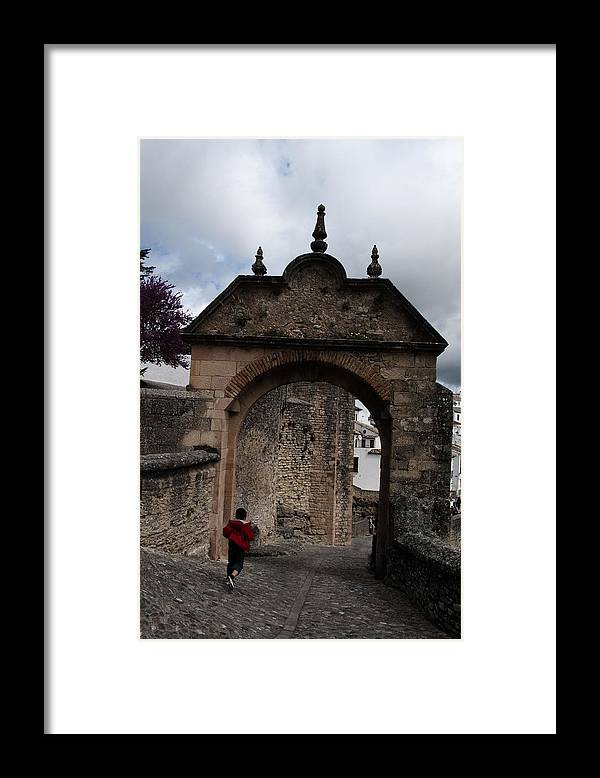 Boy Framed Print featuring the photograph Ronda Boy Running by Obi Martinez