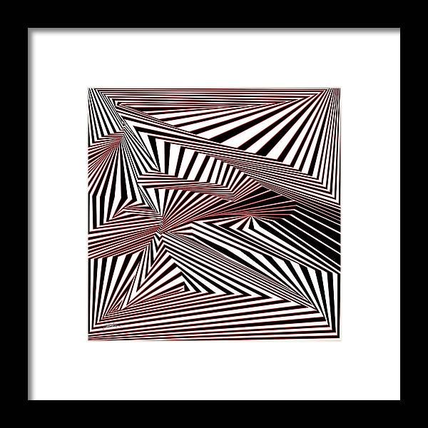 Dynamic Black And White And Red Framed Print featuring the digital art Rood Der by Douglas Christian Larsen