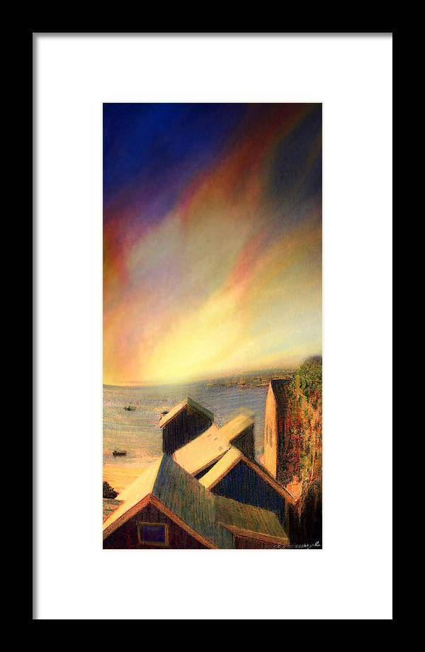 Provincetown Ma Framed Print featuring the painting Roof Tops Over Provincetown Harbor by Mike Massengale