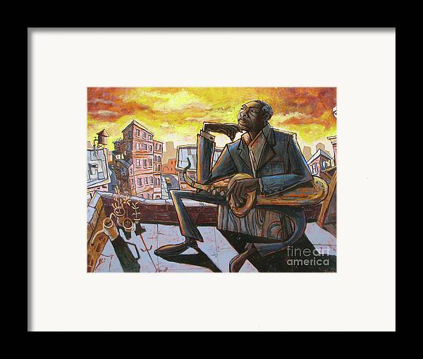 John Framed Print featuring the painting Roof Trane by Sean Hagan