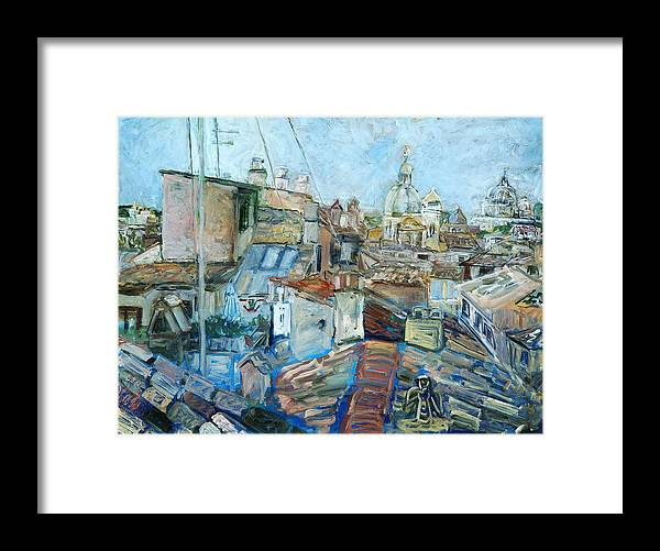 Cityscape Rome Roofs Chimneys Churches Cathedral Framed Print featuring the print Roofs Of Rome 1 by Joan De Bot