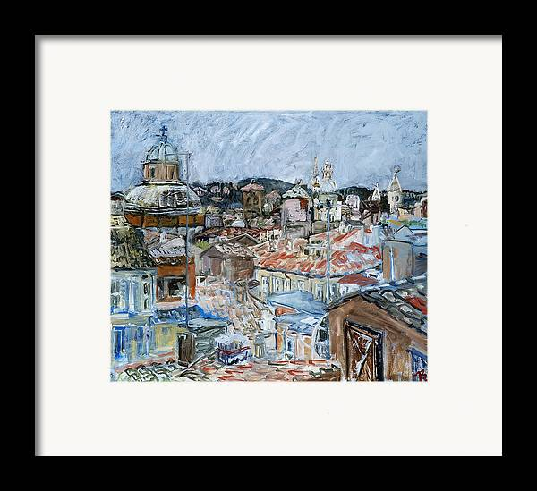 Cityscape Framed Print featuring the painting Roofs Of Rome by Joan De Bot