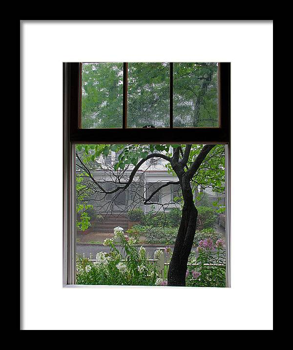 Window Framed Print featuring the photograph Room With A Rainy View by Juergen Roth