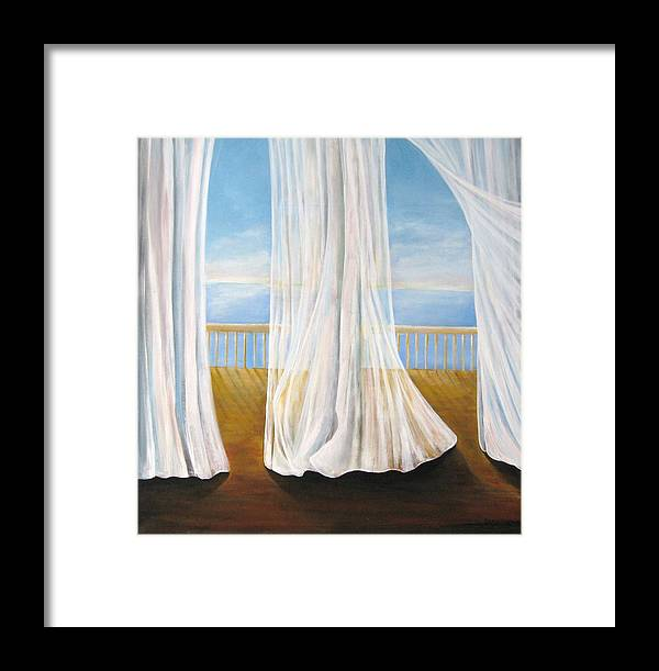 Window Framed Print featuring the painting Room With A View by Eileen Kasprick