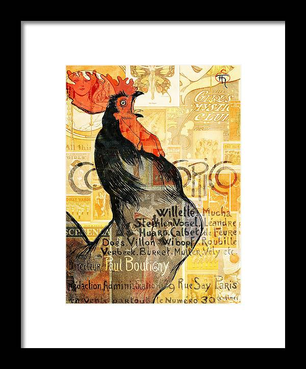 Vintage Framed Print featuring the mixed media Rooster by Jacky Gerritsen