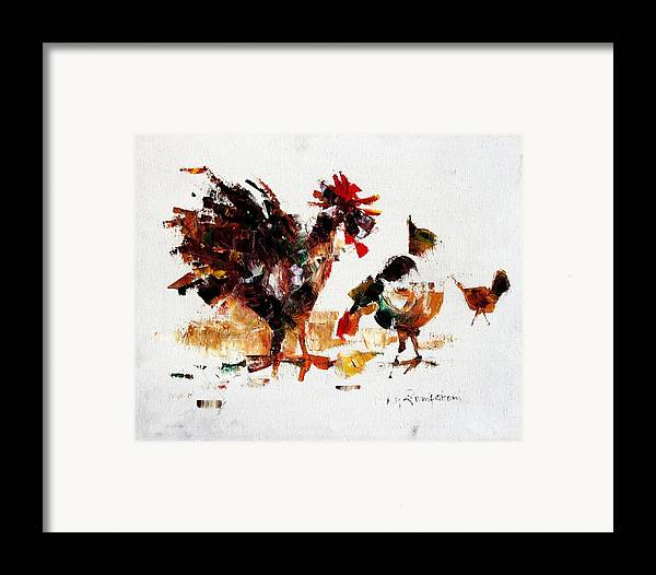 Rooster Framed Print featuring the painting Rooster by Mario Zampedroni