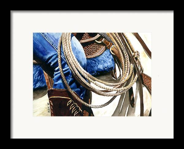 Rope Framed Print featuring the painting Rope by Nadi Spencer