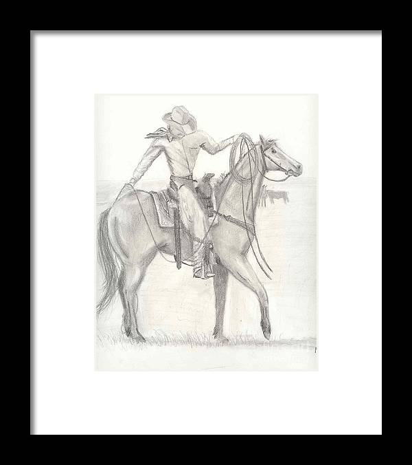 Horse Framed Print featuring the drawing Roper Ballet by Mendy Pedersen