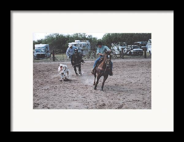 Horses Framed Print featuring the photograph Roping Event 4 by Wendell Baggett