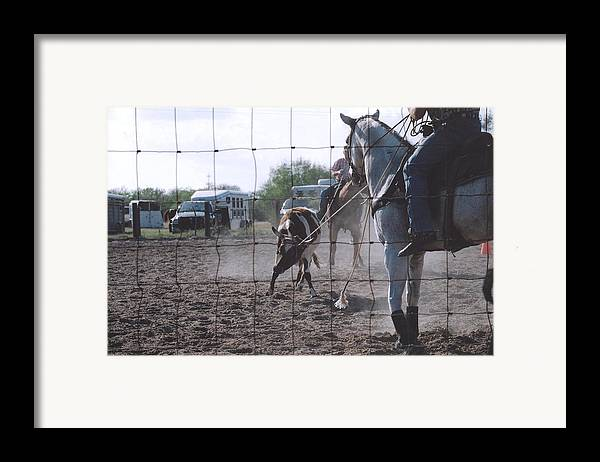 Horse Framed Print featuring the photograph Roping Event 5 by Wendell Baggett