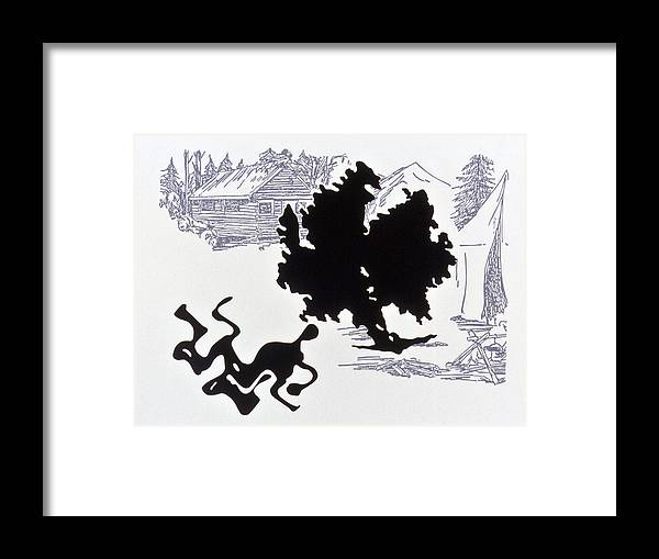 Karl Framed Print featuring the drawing Rorschach 1 Wrestlers by Karl Frey