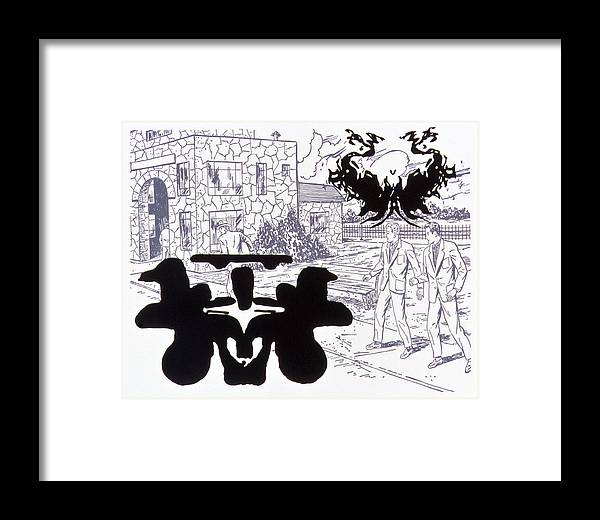Karl Framed Print featuring the drawing Rorschach 3 Angel Of Death by Karl Frey