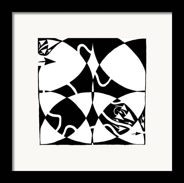 Rorschach Framed Print featuring the drawing Rorschach Maze by Yonatan Frimer Maze Artist