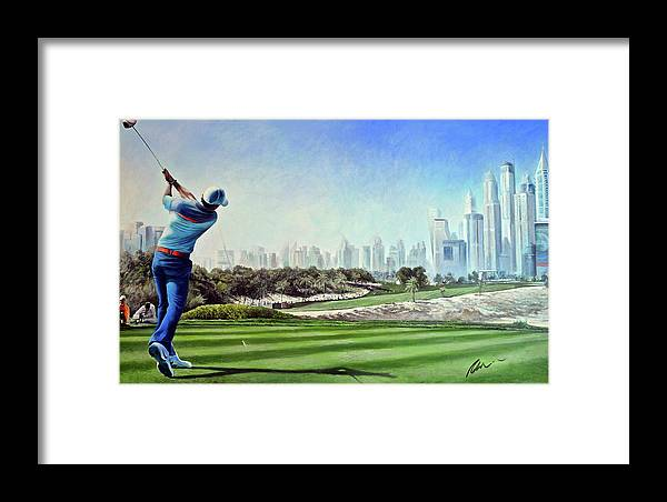 Rory Mcilroy Framed Print featuring the painting Rory At Ddc Emirates Gc Dubai 8th 2014 by Mark Robinson