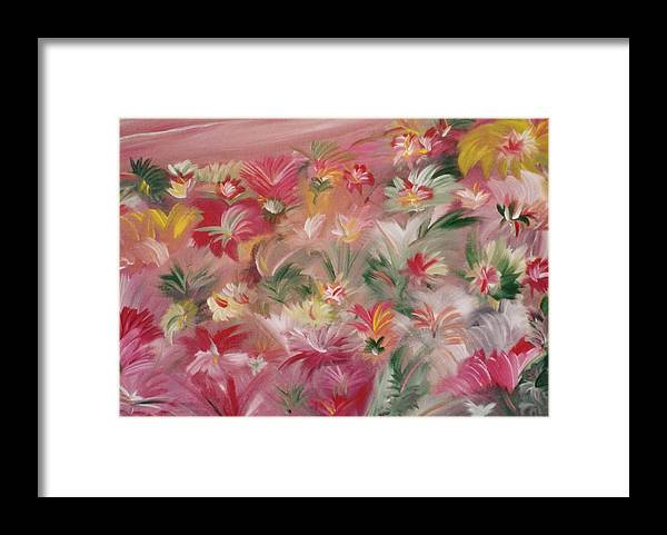 Flowers Framed Print featuring the painting Rosa Bluetenmeer by Michael Puya