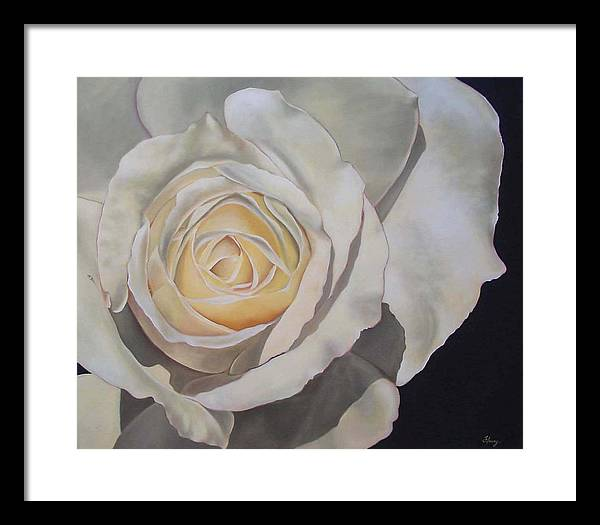 Floral Framed Print featuring the painting Rosa by Helene Fleury