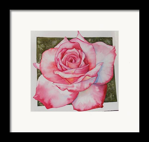 Red Framed Print featuring the painting Rose 3 by Diane Ziemski