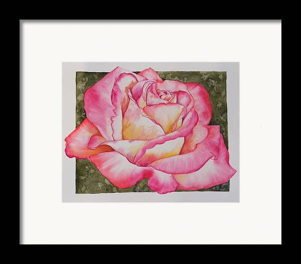 Red Framed Print featuring the painting Rose 4 by Diane Ziemski