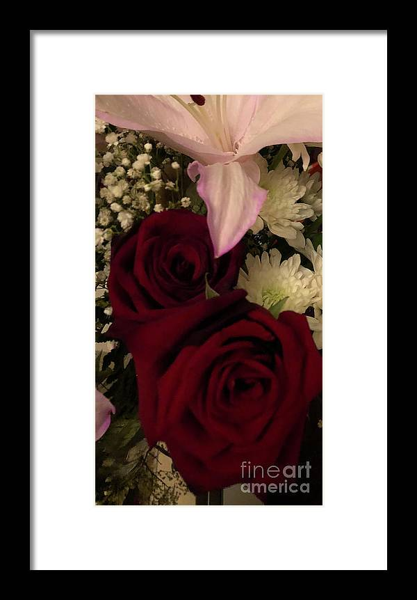 Flowers Framed Print featuring the photograph Rose And Lily by Susmita Sengupta