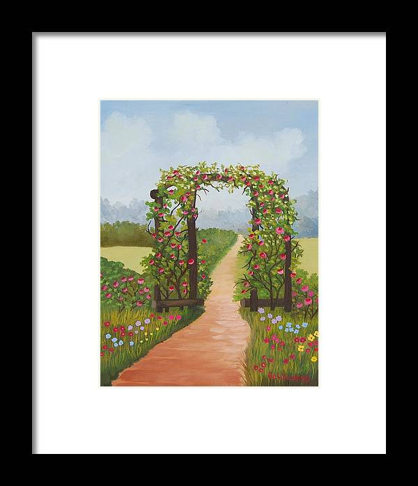 Landscape Framed Print featuring the painting Rose Arbor by Ruth Housley