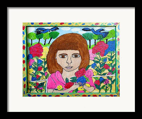 Rose Flowers Child Birds Framed Print featuring the painting Rose by Betty Roberts